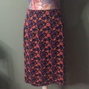 Downeast Basics Purple Floral Pencil Skirt Medium